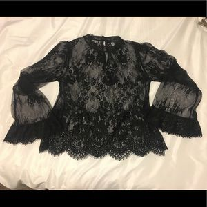 Sheer long sleeve black lace top